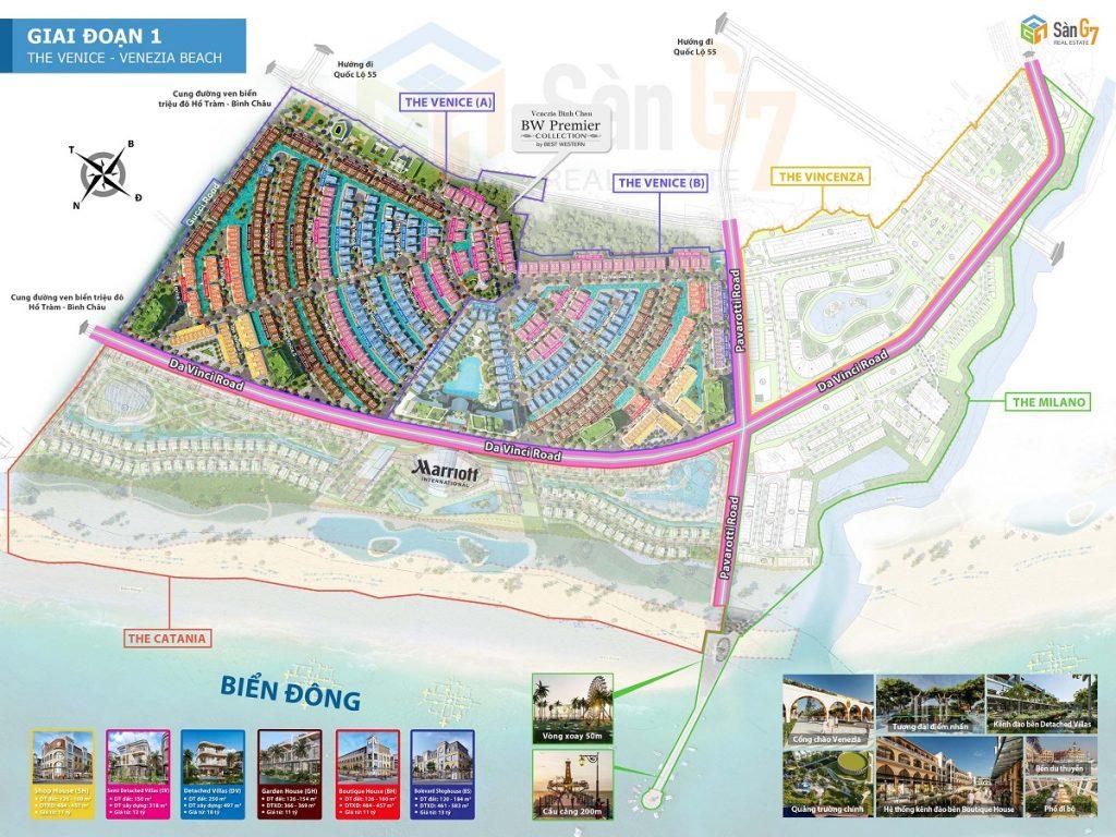 Mặt bằng giai đoạn 1 dự án Venezia Beach Hồ Tràm - Bình Châu