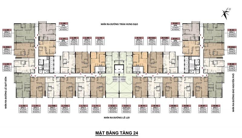 Mặt bằng tầng 24 dự án BID Homes Eden Garden Lê Lợi - Thái Bình