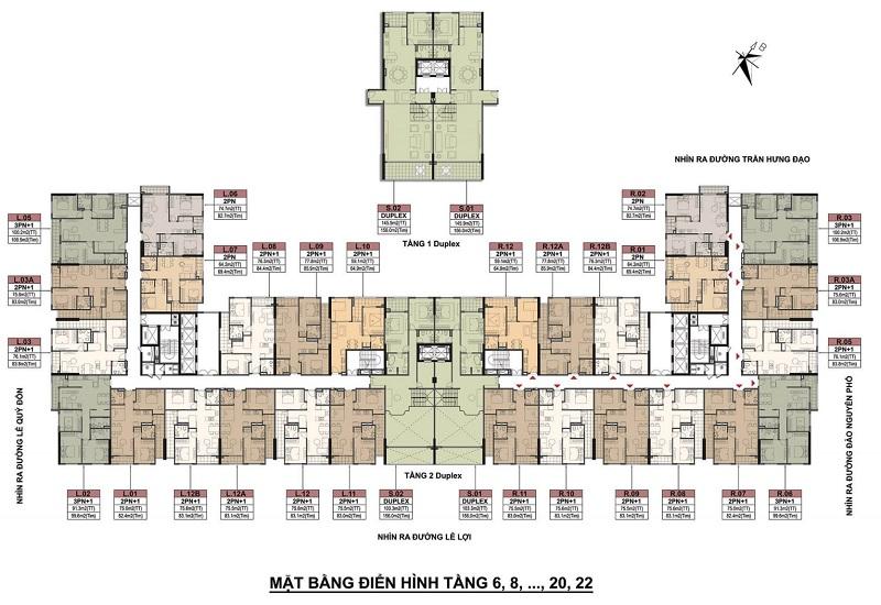 Mặt bằng tầng chẵn dự án BID Homes Eden Garden Lê Lợi - Thái Bình