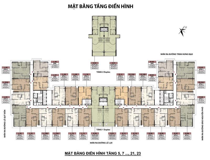 Mặt bằng tầng lẻ dự án BID Homes Eden Garden Lê Lợi - Thái Bình