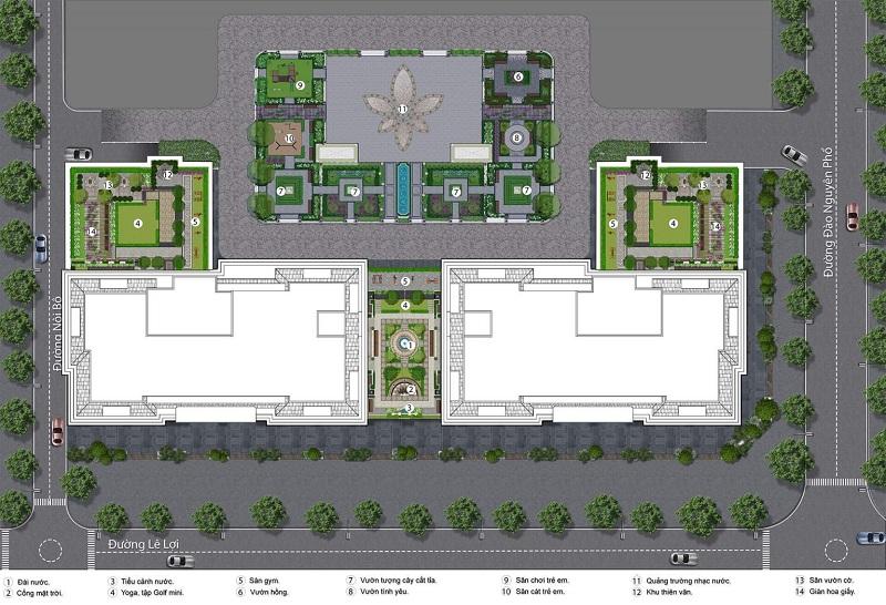 Mặt bằng tiện ích dự án BID Homes Eden Garden Lê Lợi - Thái Bình