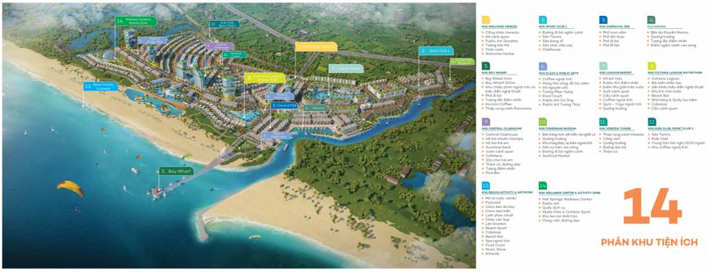 Mặt bằng tiện ích dự án Venezia Beach Hồ Tràm - Bình Châu