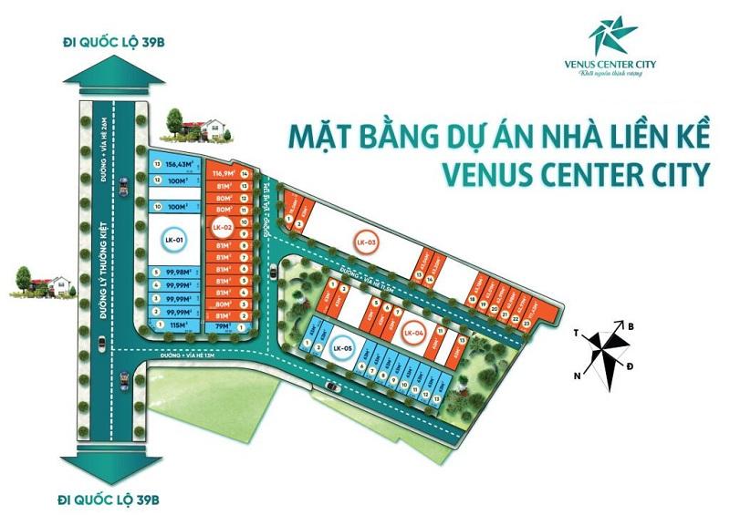 Mặt bằng dự án Venus Center City Trần Lãm - Thái Bình