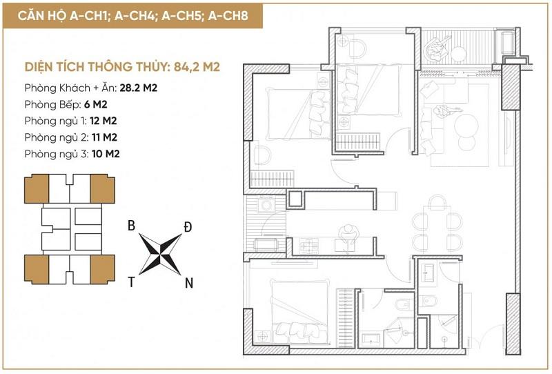 Thiết kế căn hộ A1-A4-A5-A8 dự án Bách Việt Diamond Hill Xương Giang - Bắc Giang