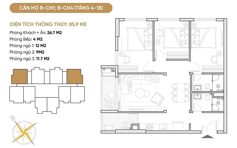 Thiết kế căn hộ B1-B4 dự án Bách Việt Diamond Hill Xương Giang - Bắc Giang