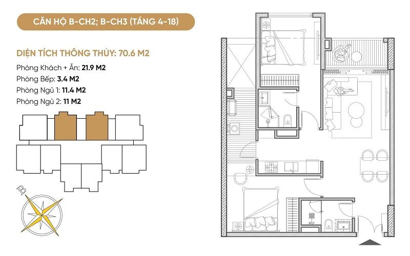 Thiết kế căn hộ B2-B3 dự án Bách Việt Diamond Hill Xương Giang - Bắc Giang