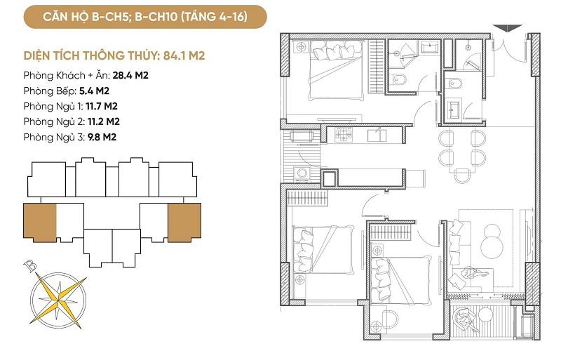 Thiết kế căn hộ B5-B10 dự án Bách Việt Diamond Hill Xương Giang - Bắc Giang