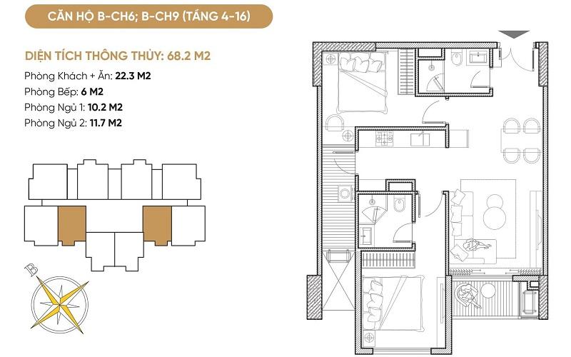 Thiết kế căn hộ B6-B9 dự án Bách Việt Diamond Hill Xương Giang - Bắc Giang
