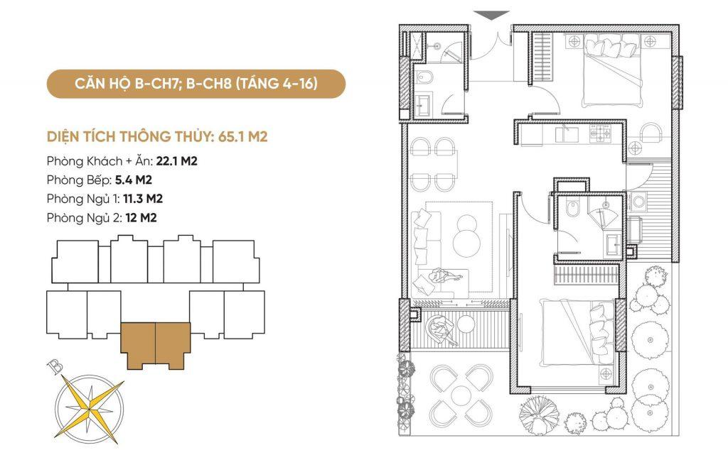 Thiết kế căn hộ B7-B8 dự án Bách Việt Diamond Hill Xương Giang - Bắc Giang