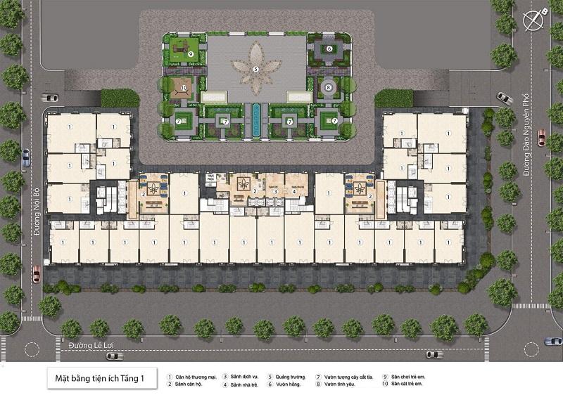 Tiện ích tầng 1 dự án BID Homes Eden Garden Lê Lợi - Thái Bình