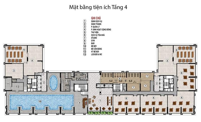 Tiện ích tầng 4 dự án BID Homes Eden Garden Lê Lợi - Thái Bình