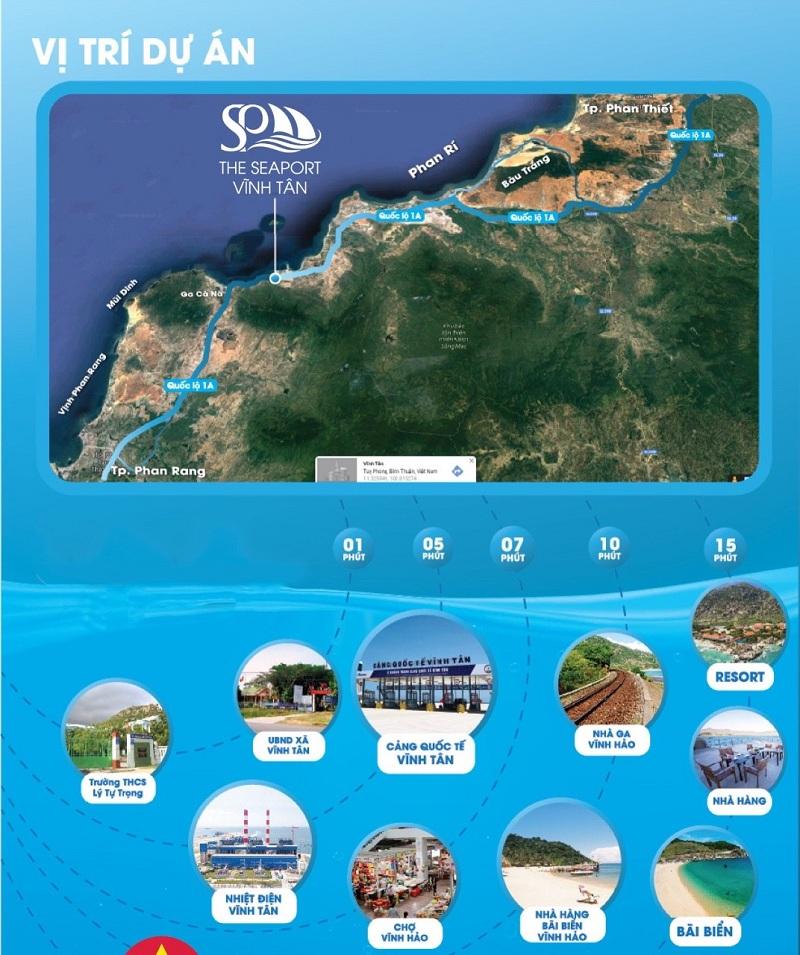 Vị trí dự án đất nền Seaport Vĩnh Tân - Bình Thuận