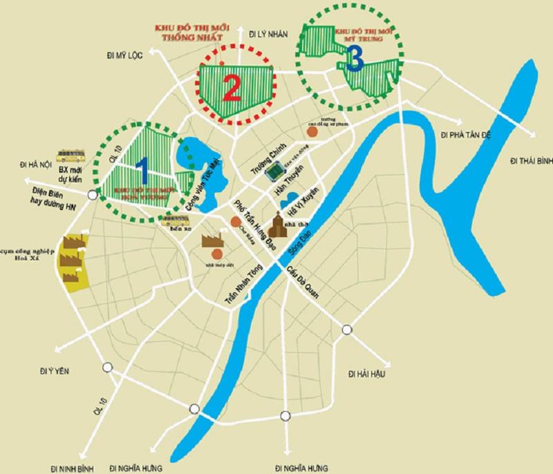 Vị trí khu đô thị Thống Nhất - Nam Cường - Nam Định