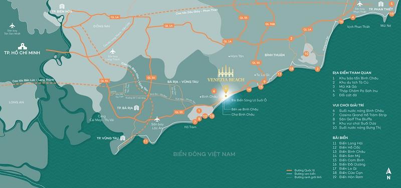 Vị trí dự án Venezia Beach Hồ Tràm - Bình Châu