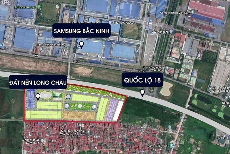 Đất nền dự án Long Châu Star Mẫn Xá - Yên Phong đối diện Samsung Bắc Ninh