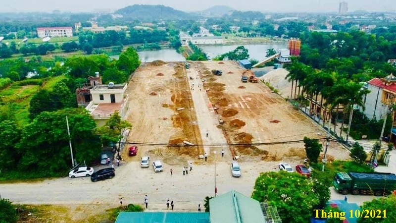 Flycam tiến độ khu 40 lô đất nền Phú Cát - Hòa Lạc mặt đường tỉnh lộ 446
