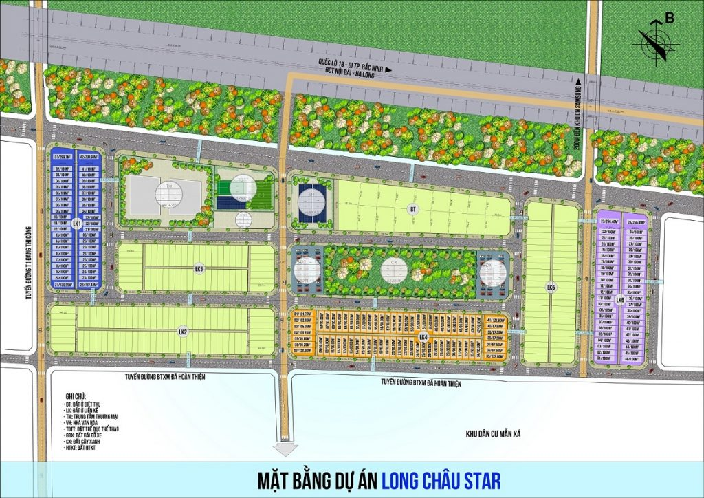 Mặt bằng đất nền dự án Long Châu Star Mẫn Xá - Yên Phong đối diện Samsung Bắc Ninh