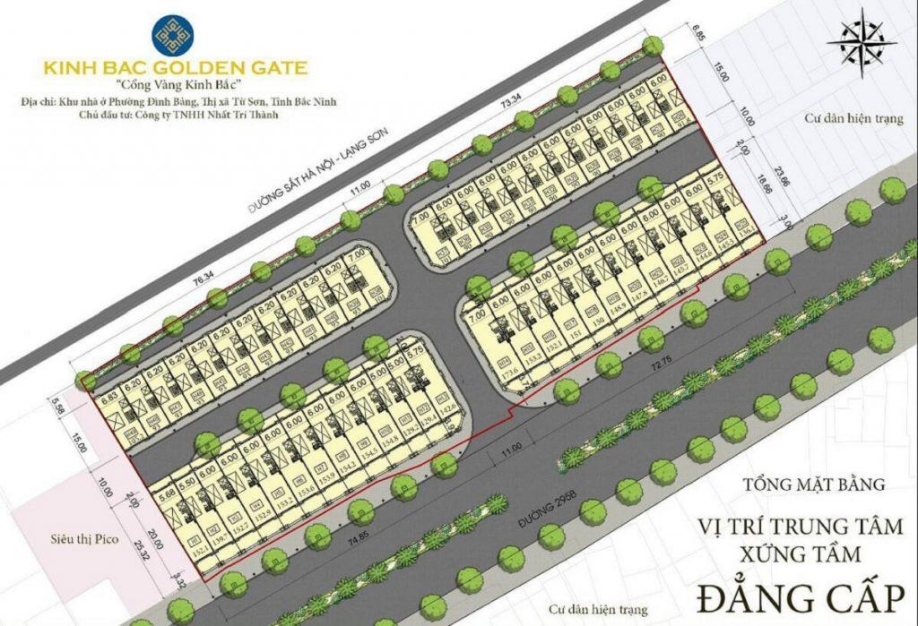 Mặt bằng phân lô dự án Kinh Bắc Golden Gate Từ Sơn - Bắc Ninh