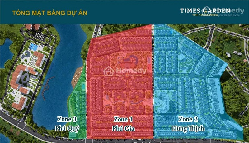Mặt bằng phân khu dự án Times Garden Vĩnh Yên Residences