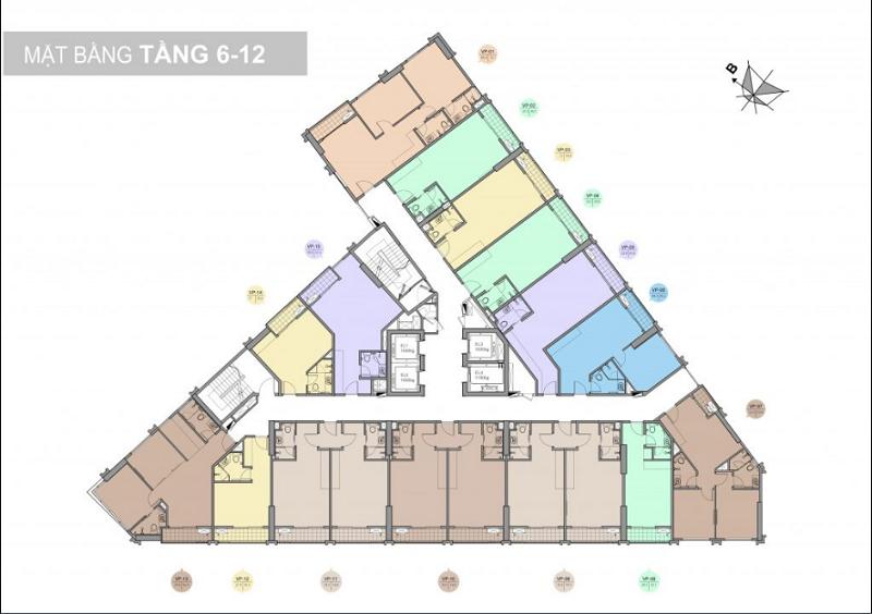 Mặt bằng tầng 6-12 dự án Trinity Tower Mễ Trì - CenInvest