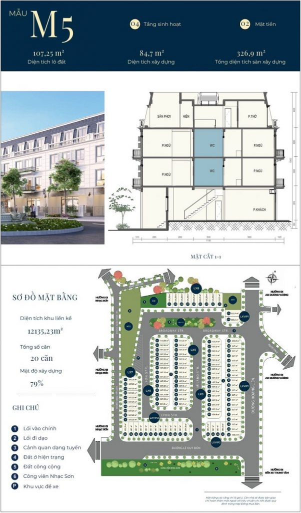 Mẫu thiết kế nhà phố M5 dự án CIC Luxury Lào Cai - Cốc Lếu