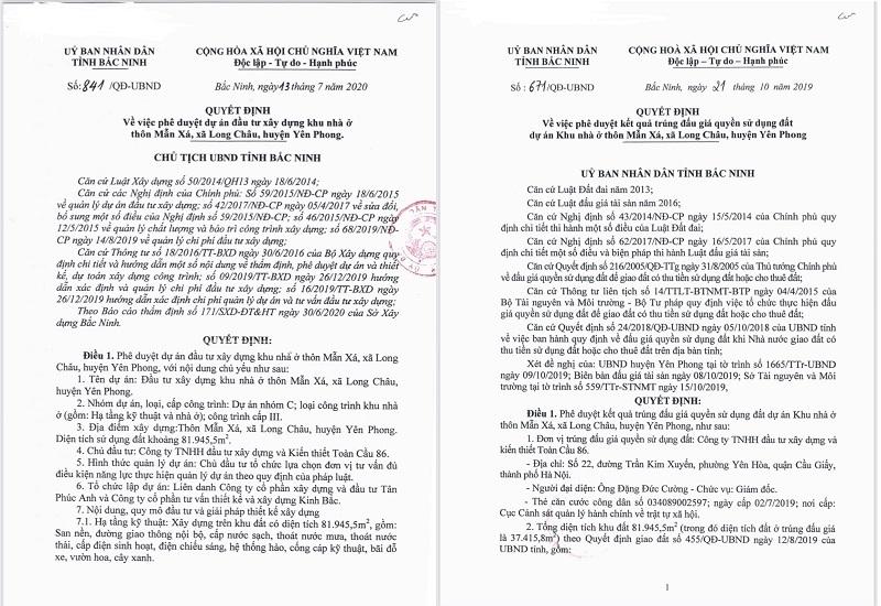 Pháp lý đất nền dự án Long Châu Star Mẫn Xá - Yên Phong đối diện Samsung Bắc Ninh