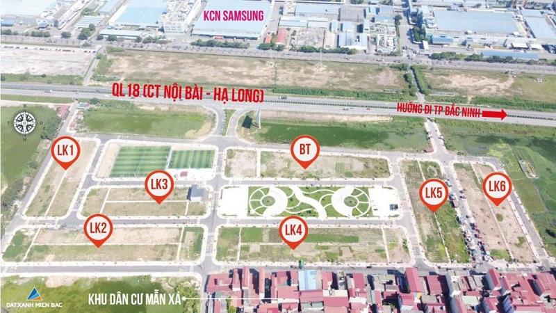 Quy hoạch đất nền dự án Long Châu Star Mẫn Xá - Yên Phong đối diện Samsung Bắc Ninh