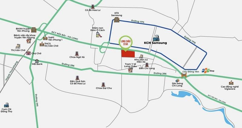 Vị trí đất nền dự án Long Châu Star Mẫn Xá - Yên Phong đối diện Samsung Bắc Ninh