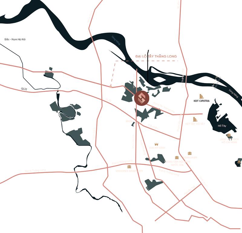 Vị trí dự án Sunshine Capital Tây Thăng Long